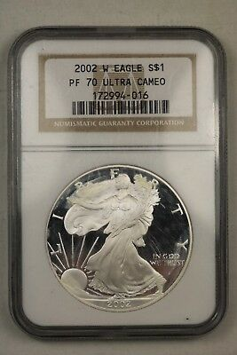 2002 W Proof Silver American Eagle $1 PF 70 Ultra Cameo NGC