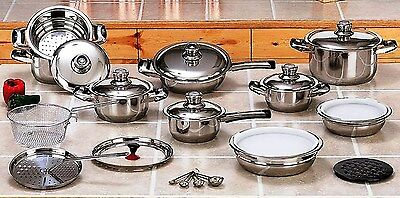 28pc Waterless T304 Surgical Stainless Steel Cookware Set Heavy Gauge 12-Element