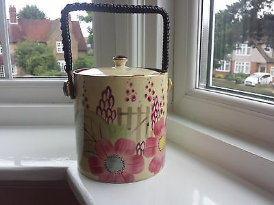 Art Deco Grays Susie Cooper style Biscuit Barrel handpainted gilded Floral 9636
