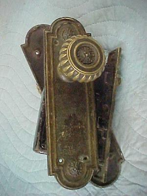 Antique Solid Cast Brass Russell & Irwin Door Knobs, Back Plates Lock