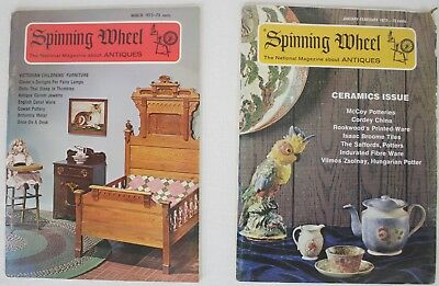 Lot of 2 Spinning Wheel 1973 Vintage Magazine about Antiques Collectibles