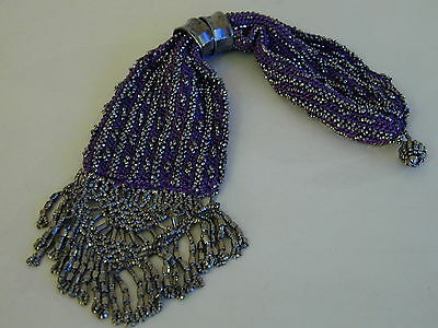 Very Unusual Victorian 'Miser's' bead bag/purse with metal beads