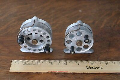 ( 2) Unique Brass and Aluminum Antique Vintage  Fly Fishing Reels