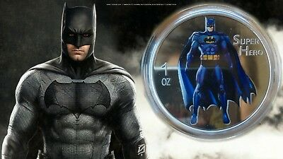 2014 Silver Colored 1oz coin Marvel Batman colorized proof like!!