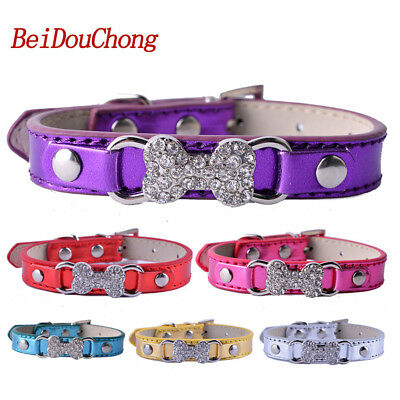 Bling Rhinestones Dog-Collar Pu Leather Puppy Pet Necklace For Small Dogs Sz S M