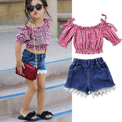 Summer Fashion Baby Girl Kid Off-Shoulder T-shirt Top+Shorts Jeans Pants Outfits
