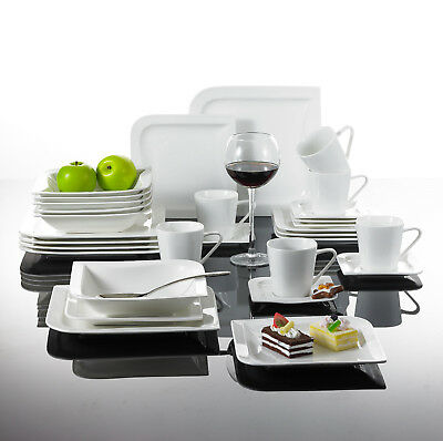 Malacasa JOESFA Service de Table Porcelaine 18pcs Assiettes 6 Tasse 6 Soucoupes