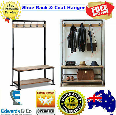 Hallway Coat Stand Shoe Rack Bench Furniture Industrial Hat Clothes Metal Hooks