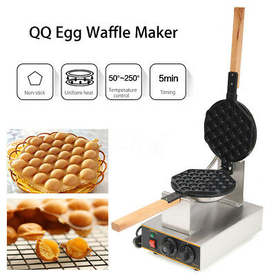 220V Electric Non stick QQ Egg Waffle Maker Cake Oven Baking Machine AU Plug