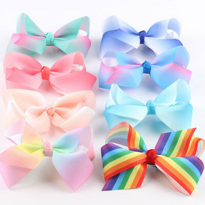 Girls Large Bowknot Hair Bow JoJo Hair Pins Alligator Clips Ribbon Hair Clip US