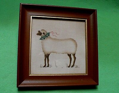 Vintage framed FOLK ART on cloth of a SHEEP / LAMB with a HOLLY & BERRY collar.