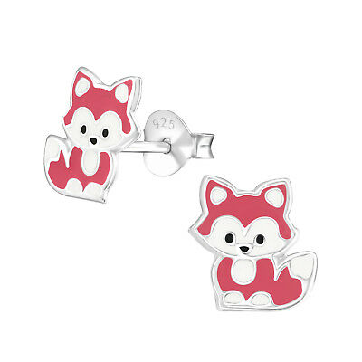 925 Sterling Silver Cute Baby Fox Kids Girls Stud Earrings