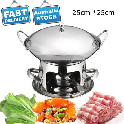 25cm Stainless Steel Chafing Dish Hot Pot Alcohol Stove Heater Hotpot Cookware