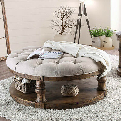 Rustic Round Coffee Table Shelf in Antique Oak Button Tufted Beige Fabric Top