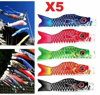 X5 Colors Japanese Koinobori Carp Wind Sock Anime Fish Flag Windsock Koi Gift ♫