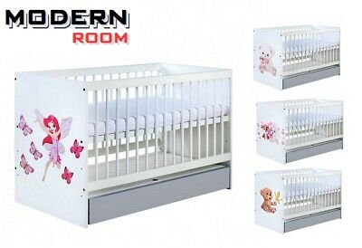 Big Sale Baby Child White Cot With/without Grey Drawer And Beautiful Design