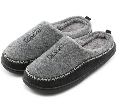 Men's Fuzzy Fleece Memory Foam Slippers Slip On Clog House Shoes out/indoor