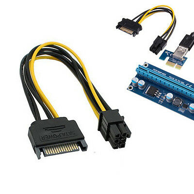 8inch SATA 15pin to 6pin PCI Express Card Power Cable Express Adapter Cable