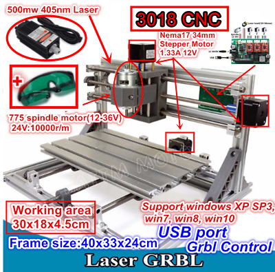 3 Axis DIY Mini 3018+500mw Laser CNC Engraving Machine Milling Pcb Wood Router