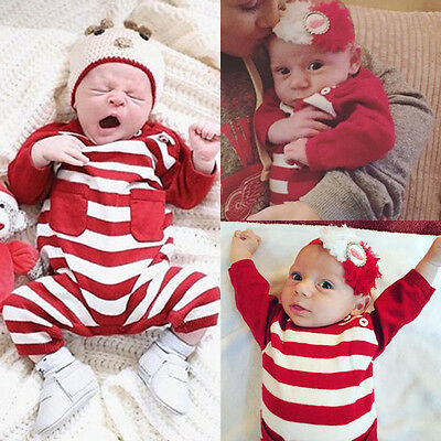 Christmas Infant Baby Boy Girl Striped Romper Bodysuit Jumpsuit Outfit USA Stock