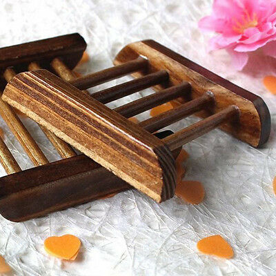 Natural Bamboo Soap Holder Dish Bathroom Shower Plate Stand Storage Wood Tray BO