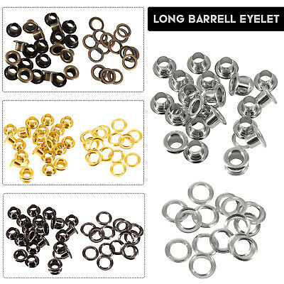 100pcs 4mm-14mm Long Barrell Eyelets with Washers in Various Colour Art & Crafts