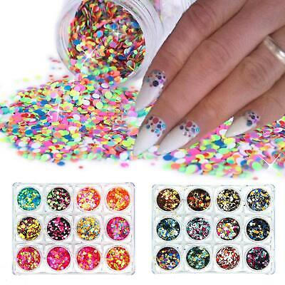 Round Glitter Paillette Dot Shape Mini Sequins Confetti Loose Nail Art 3D Neon