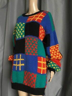 VINTAGE Funky PURE NEW WOOL SLOUCHY JUMPER Sweater HASHTAGS M Primary Colours
