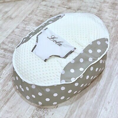 Personalised Boys Girls Grey Polka Dot Pre Filled Baby Bean Bag