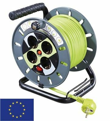 Case reel with cable routing 25m grey-green with 4x EU sockets/surge protection