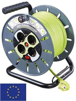Case reel with cable routing 40m grey-green with 4x EU sockets/surge protection