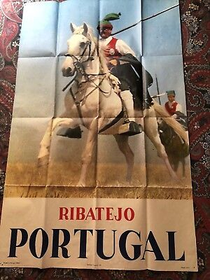 Original RIBATEJO PORTUGAL Portuguese Travel Poster Man on Horseback 1960