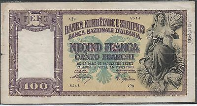 Albania / Italian Occupation , 100 Franga , ND. 1940 , P 8 , Series Q 9
