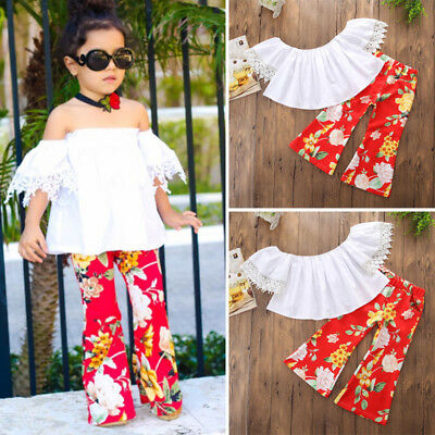 US Kids Baby Girls Lace Flower Off Shoulder Top Blouse Pants Outfits Set Clothes