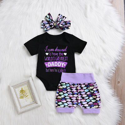 3Pcs Newborn Baby Girls Cotton Tops Romper Shorts Pants Outfits Set Clothes US