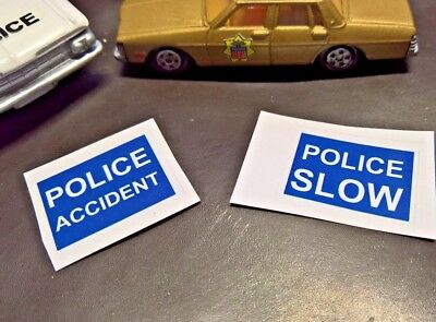 Police Accident Road Sign Slow Stickers  (pack of 2 only) No Car,