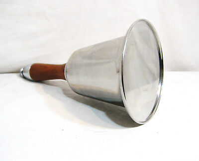 "Large Unique Sealed Hand Bell, Wood Handle Chrome Finish, 11' Tall x 6"" Diameter"