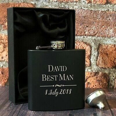 Personalised Best Man Black 6oz Hip Flask Gifts Ideas For Wedding Favours Mens
