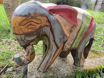 Fair Trade Hand Carved Made Wooden Rainbow Elephant Sculpture Ornament Statue