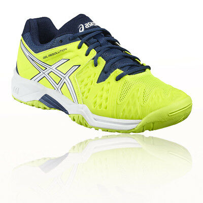 Asics Gel-Resolution 6 GS Junior Yellow Tennis Sports Shoes Trainers Pumps