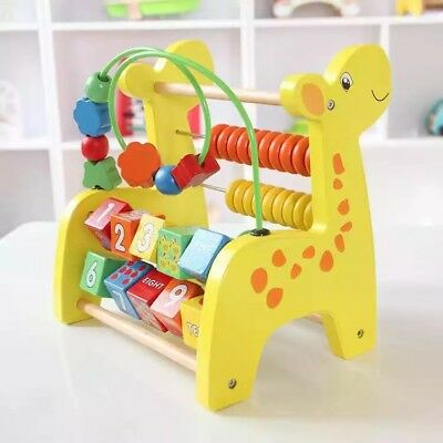 Baby Kids Children Wooden Toy Wooden Abacus Educational Bead Maze