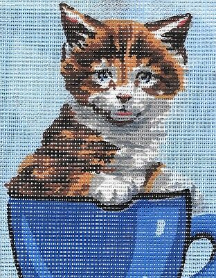 TEACUP KITTEN tapestry  20X25CM CANVAS ONLY OR KIT - YOUR CHOICE!