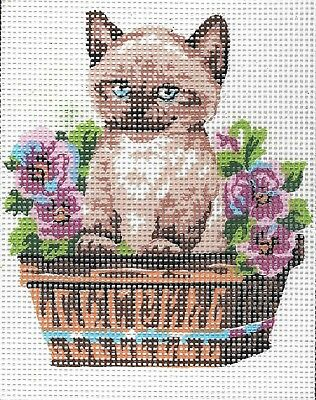 """""""SERENA """"SIAMESE KITTEN tapestry  20X25CM CANVAS ONLY OR KIT - YOUR CHOICE!"""