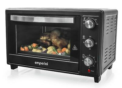 Emperial Mini Oven 30L Black Table Top Portable Grill Baking Wire Tray