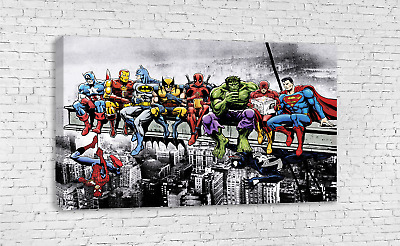 Marvel Superheroes Lunch Atop A Skyscraper Breakfast Of Champions Canvas Art
