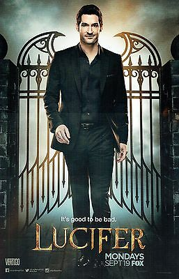 """TOM ELLIS LUCIFER COMIC-CON PROMOTIONAL POSTER - Approx. 11""""x17"""" - Shipped Flat"""
