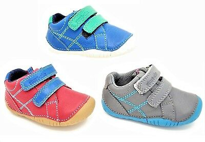 Baby Boys Start-Rite MILAN Soft Leather Shoe in Grey, Red or Blue size 2 to 4.5