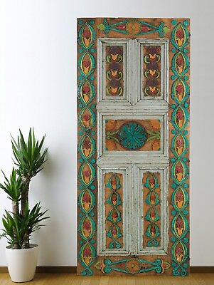 Antique Turkish Door Carved,Vintage Solid Wood Panel Architectural (73'')