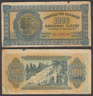 Greece 1000 Drachmai 1941 (VG-F) Condition Banknote P-117