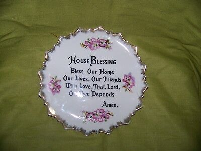 "Vintage Hand Painted ""House Blessing"" Decorative Plate - 7 1/8"" in Diameter"